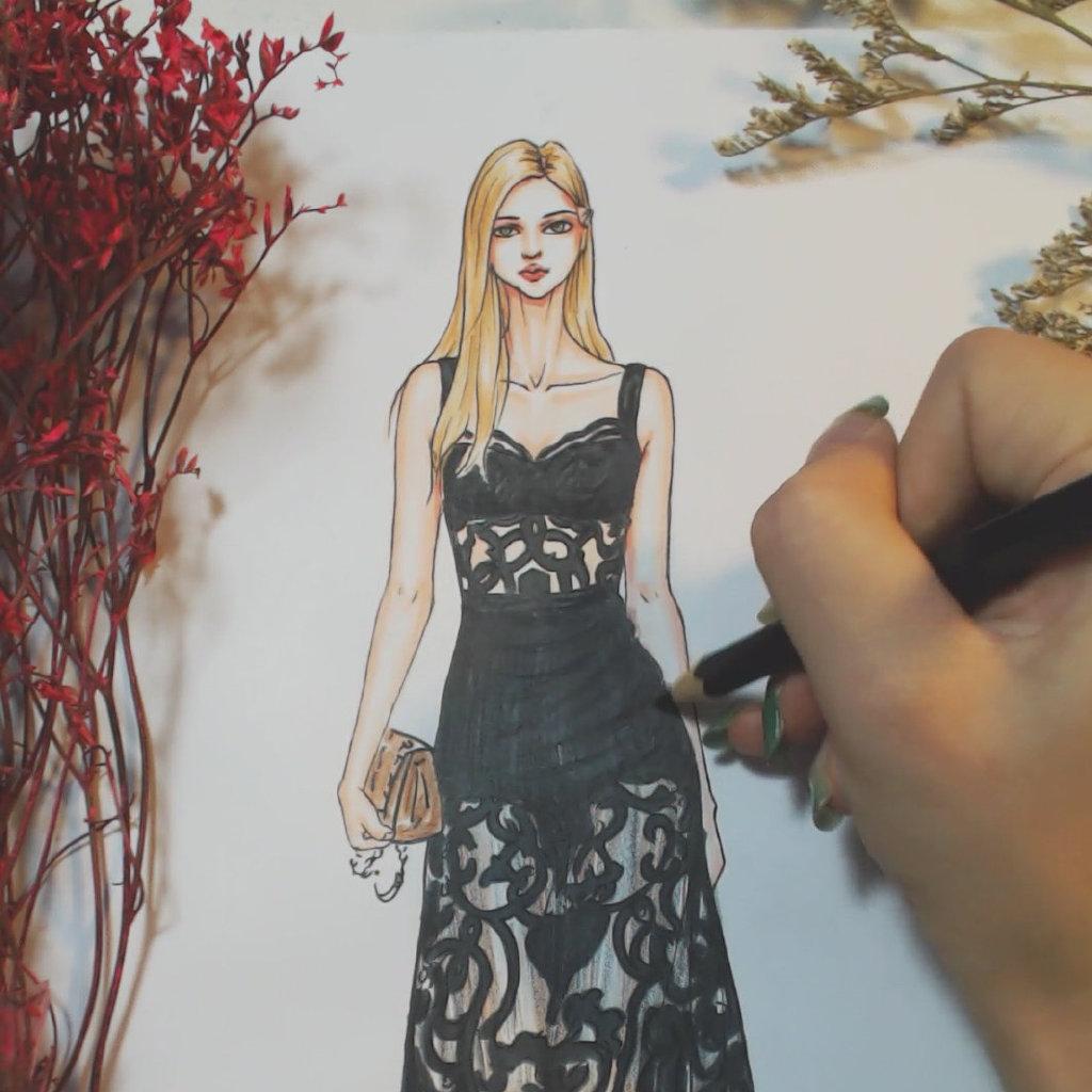 服装设计手绘教程,马克笔的扫笔技法,让你.-来自--.