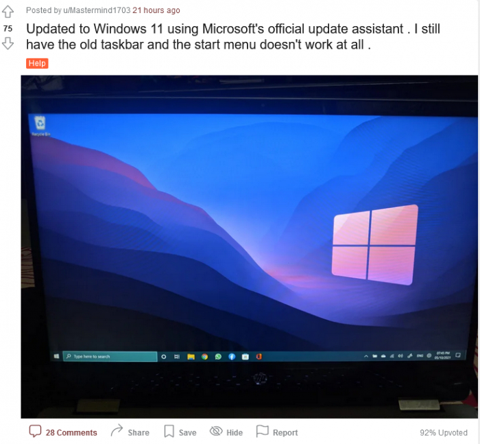 "Windows 11一些用户发现Win10任务栏""意外回归"""