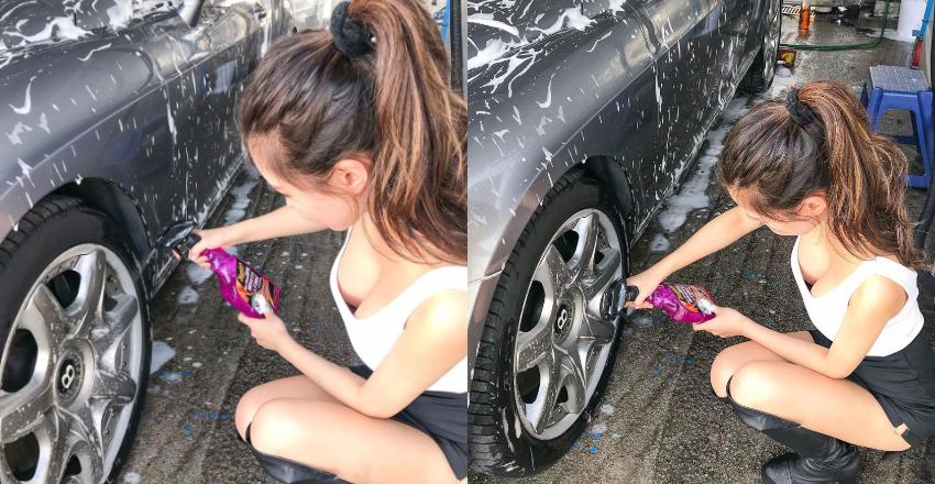 大胸妹叶凯琪自助洗车呼之欲出爆风景让人看傻眼