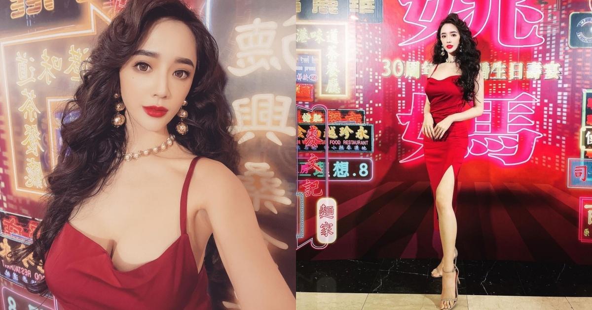 人气正妹「Zihan Weng 子涵」港风造型超美艳!低胸礼服~