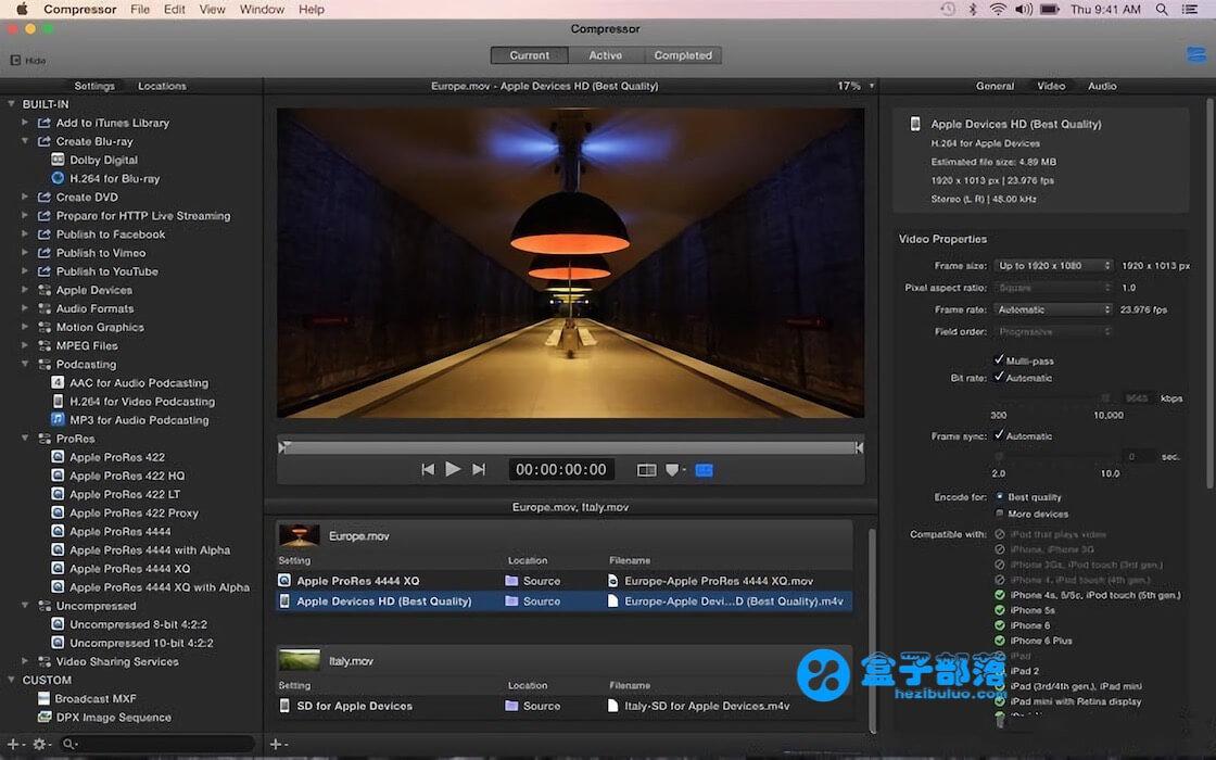 Compressor v4.4.3 苹果官方出品的视频后期编辑制作工具
