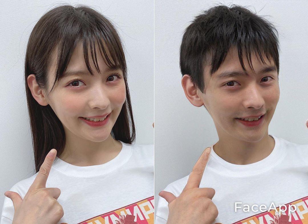 上坂堇 Face App 男孩子